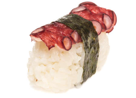 Japanese sushi with meat octopus on a white background Stock Photo - 14427492