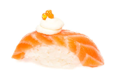 Salmon sushi on a White background photo