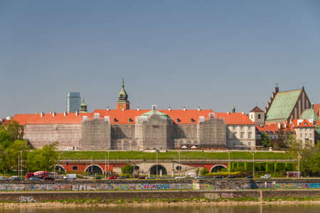 Old Town by the river Vistula picturesque scenery in the city of Warsaw, Poland