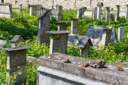 The Remuh Cemetery in Krakow, Poland, is a Jewish cemetery established in 1535. It is located beside the Remuh Synagogue Stock Photo - 14423404
