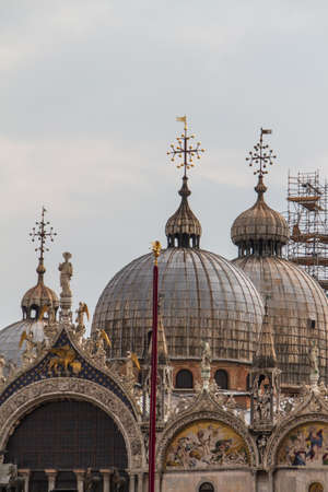 Saint Marks Basilica, Cathedral, Church Statues Mosaics Details Doge's Palace Venice Italy Stock Photo - 14427870