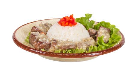 Rice and pork japanese style photo