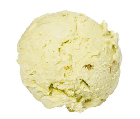 cream colour: Pallina di gelato al pistacchio dall'alto su sfondo bianco