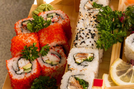 Set of sushi and rolls photo
