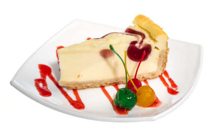 Closeup of a slice of cherry cheesecake on a white background photo