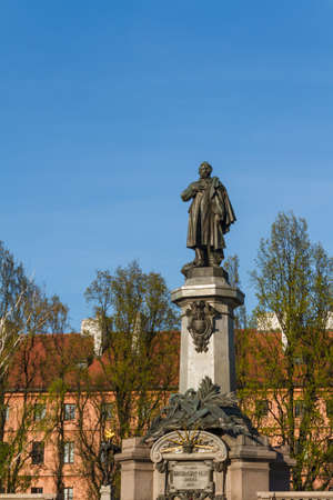 mickiewicz: Warsaw, capital city of Poland. Monument of Adam Mickiewicz, the most famous Polish poet. Editorial
