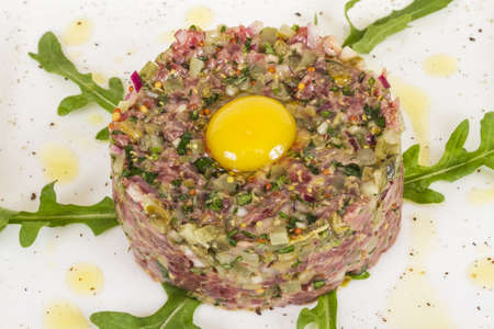 steak tartare with egg photo