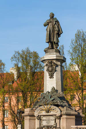 Warsaw, capital city of Poland. Monument of Adam Mickiewicz, the most famous Polish poet.