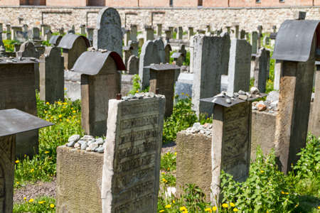 The Remuh Cemetery in Krakow, Poland, is a Jewish cemetery established in 1535. It is located beside the Remuh Synagogue Stock Photo - 14803180