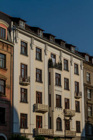 Beautiful facade of old town house in Krakow, Poland photo