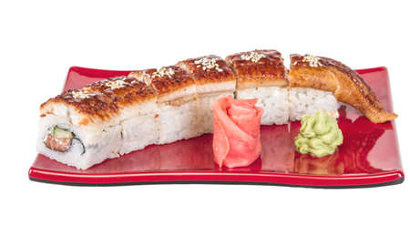 Japanese traditional Cuisine - Maki Roll with Cucumber , Cream Cheese and Raw Salmon and Eel Stock Photo - 15268171