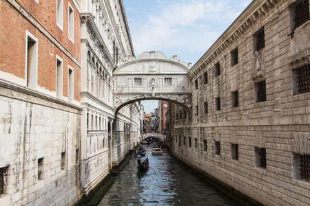 balcony view: The bridge of sighs - Venice Stock Photo