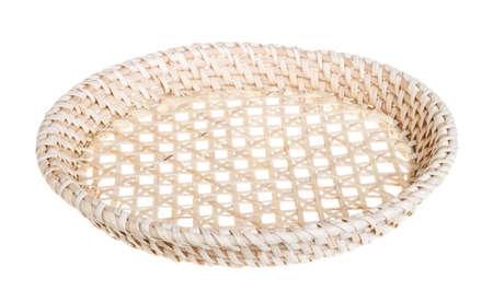 breadbasket: Wickerwork empty yellow breadbasket on white background