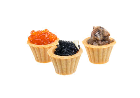 glutton: Canapes with red, black and mushroom caviar