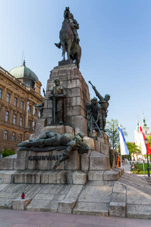 teutonic: Battle of Grunwald monument In Old Town in Krakow Editorial