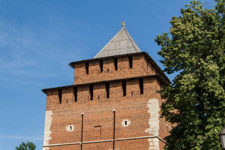 Kremlin wall at Nizhny Novgorod in summer. Russia