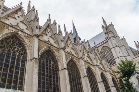 The beautiful Gothic cathedral St. Michael and St. Gudula striving for a blue sky, Belgium, Brussel, Europe. Stock Photo - 16208121