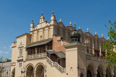 cracovia: Sukiennice building in Krakow in strange perspective, Poland