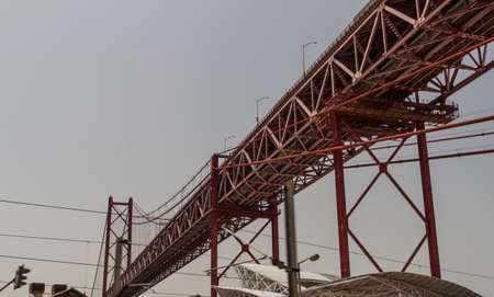 Huge road and rail bridge in Lisbon, Portugal photo