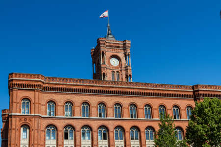 rote: Berlin City Hall: Rote Rathaus on Alexanderplatz Stock Photo