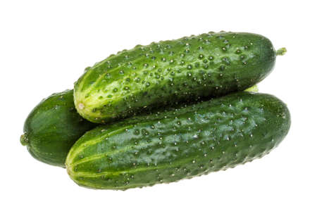 english cucumber: Healthy food. The green cucumbers isolated on white background