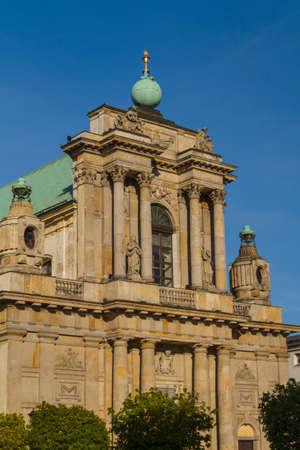 krakowskie przedmiescie: Warsaw, Poland - Carmelite church at famous Krakowskie Przedmiescie street. Neoclassical architecture.