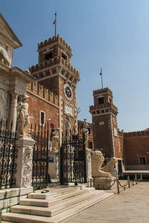 12th century: Arsenal and Naval Museum entrance view (Venice, Italy). Was founded in the 12th century. Editorial