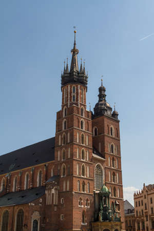 St. Mary's Basilica (Mariacki Church) - famous brick gothic church in Cracow (Krakow), Poland Stock Photo - 16606730