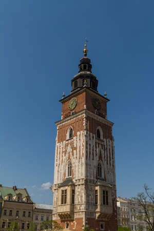 Town hall tower on main square of Krakow Stock Photo - 16609422