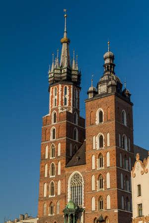 St. Mary's Basilica (Mariacki Church) - famous brick gothic church in Cracow (Krakow), Poland Stock Photo - 16604272
