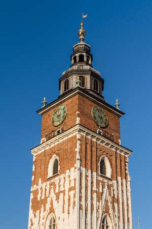 rynek: Town hall tower on main square of Krakow