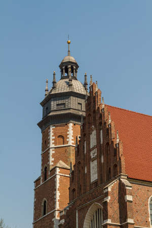 Cracow - Corpus Christi Church was founded by Kasimirus III The Great about 1340. The front elevation has a gothic gable whilst decoration of the interior is baroque Stock Photo - 16608511