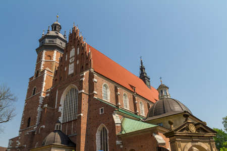 kroke: Cracow - Corpus Christi Church was founded by Kasimirus III The Great about 1340. The front elevation has a gothic gable whilst decoration of the interior is baroque