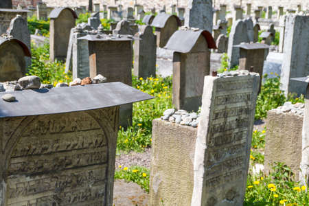 The Remuh Cemetery in Krakow, Poland, is a Jewish cemetery established in 1535. It is located beside the Remuh Synagogue Stock Photo - 16683566