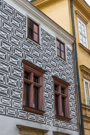 Beautiful facade of old town house in Krakow, Poland