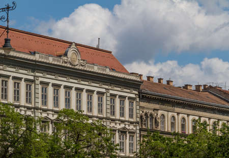 castle district: typical buildings 19th-century in Buda Castle district of Budapest