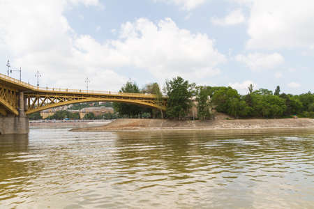 recently: Scenic view of the recently renewed Margit bridge in Budapest.