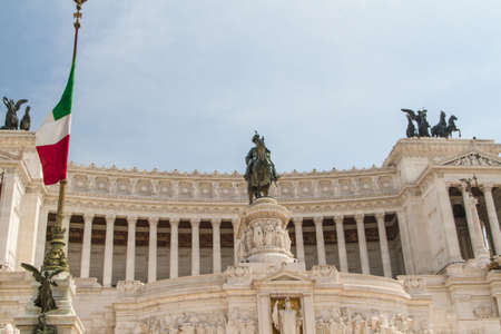 Equestrian monument to Victor Emmanuel II near Vittoriano at day in Rome, Italy Stock Photo - 16613523