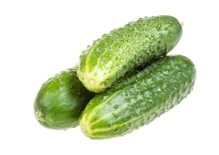 Healthy food. The green cucumbers isolated on white background Stock Photo - 16621810