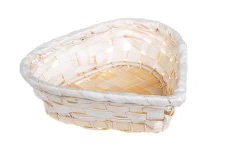 osier: Wickerwork empty yellow breadbasket on white background