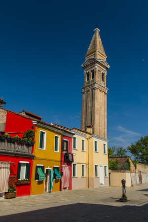 The row of colorful houses in Burano street, Italy. Stock Photo - 16699842
