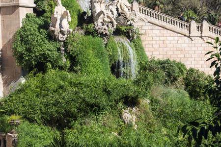 Barcelona ciudadela park lake fountain with golden quadriga of Aurora Stock Photo - 16783009