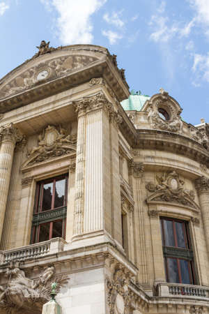 busts: Architectural details of Opera National de Paris: Front Facade. Grand Opera (Garnier Palace) is famous neo-baroque building in Paris, France - UNESCO World Heritage Site.