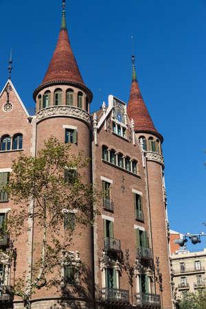 modernist: Modernist house like a castle in Barcelona city