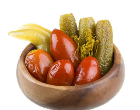 marinaded vegetables - tomato and cucumber photo