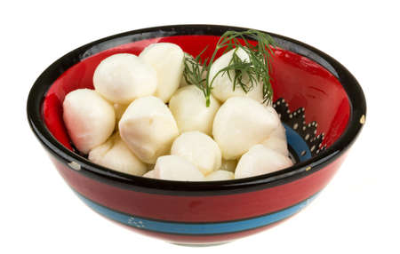 photo of delicious small mozzarella cherries photo
