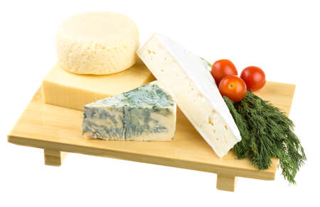 Variety of cheese: ementaler, gouda, Danish blue soft cheese and other hard cheeses photo