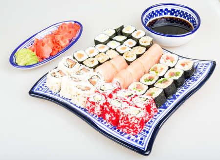 Sushi Set - Different Types of Maki Sushi and Nigiri Sushi photo
