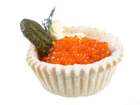 Canapes with red caviar Stock Photo - 16897670