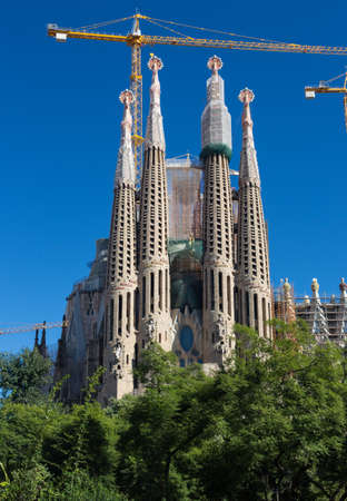 BARCELONA SPAIN - OCTOBER 28: La Sagrada Familia - the impressive cathedral designed by Gaudi, which is being build since 19 March 1882 and is not finished yet October 28, 2012 in Barcelona, Spain. Stock Photo - 17091173